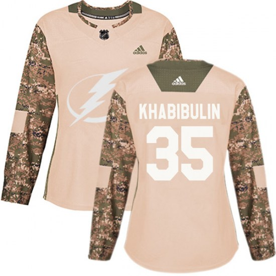 Nikolai Khabibulin Tampa Bay Lightning Women's Authentic Veterans Day Practice Adidas Jersey - Camo