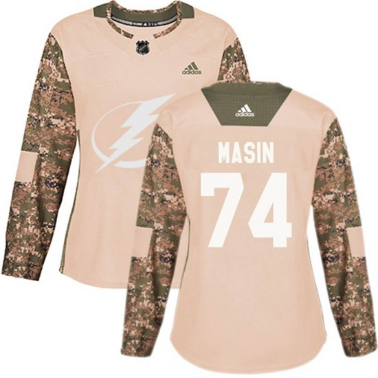 Dominik Masin Tampa Bay Lightning Women's Authentic Veterans Day Practice Adidas Jersey - Camo