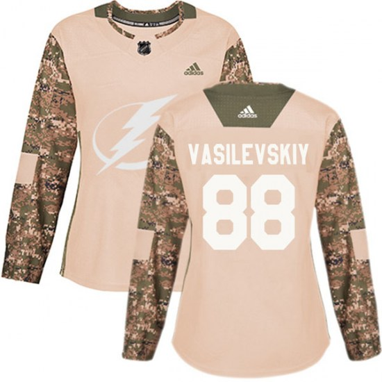 Andrei Vasilevskiy Tampa Bay Lightning Women's Authentic Veterans Day Practice Adidas Jersey - Camo