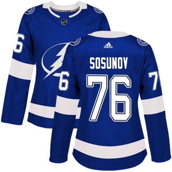Oleg Sosunov Tampa Bay Lightning Women's Authentic Home Adidas Jersey - Blue