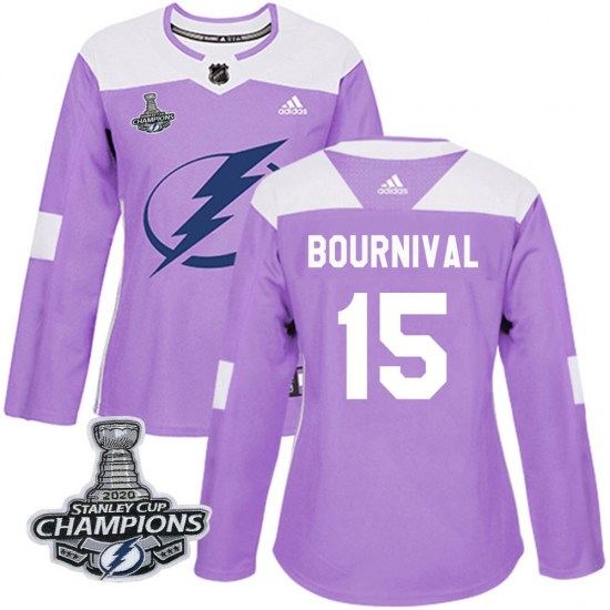 Michael Bournival Tampa Bay Lightning Women's Authentic Fights Cancer Practice 2020 Stanley Cup Champions Adidas Jersey - Purple