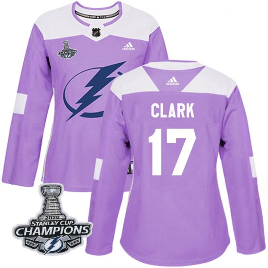 Wendel Clark Tampa Bay Lightning Women's Authentic Fights Cancer Practice 2020 Stanley Cup Champions Adidas Jersey - Purple
