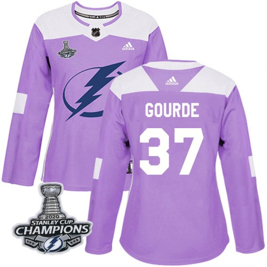 Yanni Gourde Tampa Bay Lightning Women's Authentic Fights Cancer Practice 2020 Stanley Cup Champions Adidas Jersey - Purple