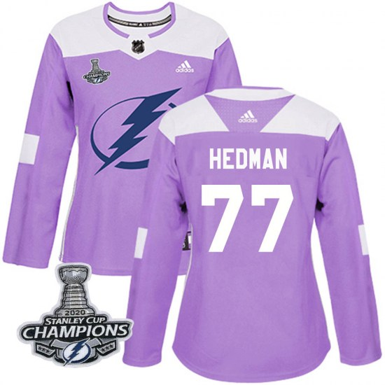 Victor Hedman Tampa Bay Lightning Women's Authentic Fights Cancer Practice 2020 Stanley Cup Champions Adidas Jersey - Purple