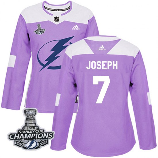 Mathieu Joseph Tampa Bay Lightning Women's Authentic Fights Cancer Practice 2020 Stanley Cup Champions Adidas Jersey - Purple