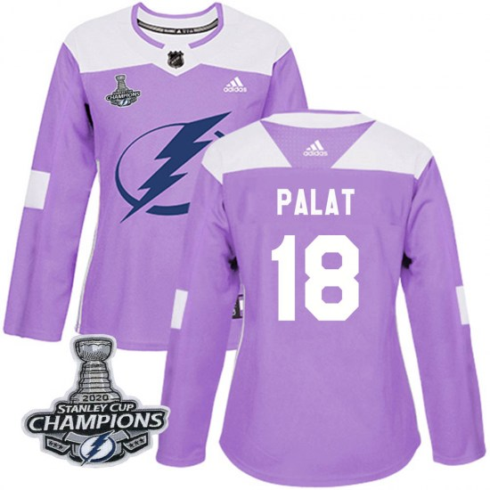 Ondrej Palat Tampa Bay Lightning Women's Authentic Fights Cancer Practice 2020 Stanley Cup Champions Adidas Jersey - Purple