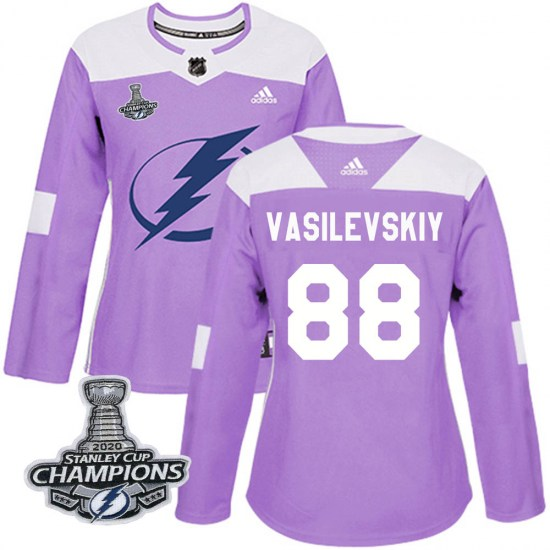 Andrei Vasilevskiy Tampa Bay Lightning Women's Authentic Fights Cancer Practice 2020 Stanley Cup Champions Adidas Jersey - Purpl