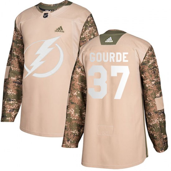 Yanni Gourde Tampa Bay Lightning Youth Authentic Veterans Day Practice Adidas Jersey - Camo