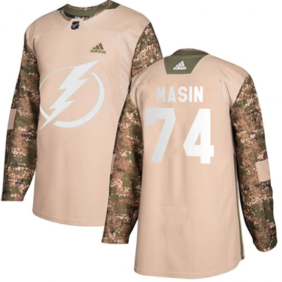 Dominik Masin Tampa Bay Lightning Youth Authentic Veterans Day Practice Adidas Jersey - Camo