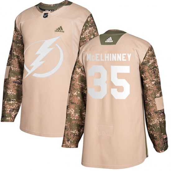Curtis McElhinney Tampa Bay Lightning Youth Authentic Veterans Day Practice Adidas Jersey - Camo