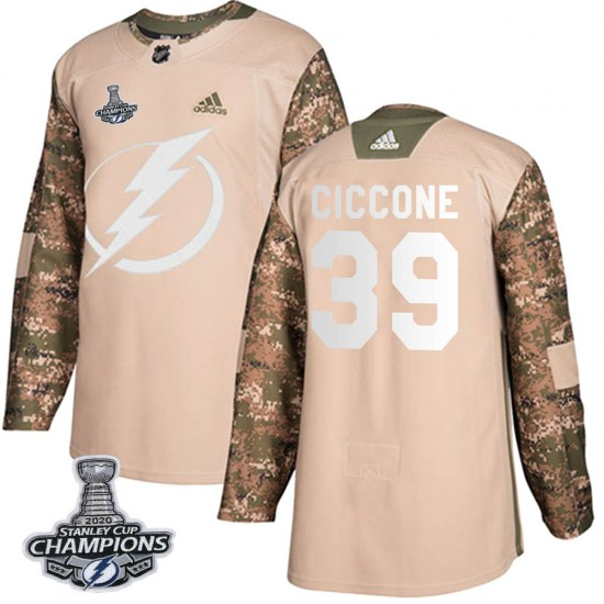 Enrico Ciccone Tampa Bay Lightning Authentic Veterans Day Practice 2020 Stanley Cup Champions Adidas Jersey - Camo