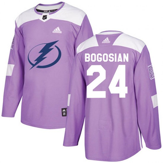 Zach Bogosian Tampa Bay Lightning Youth Authentic ized Fights Cancer Practice Adidas Jersey - Purple