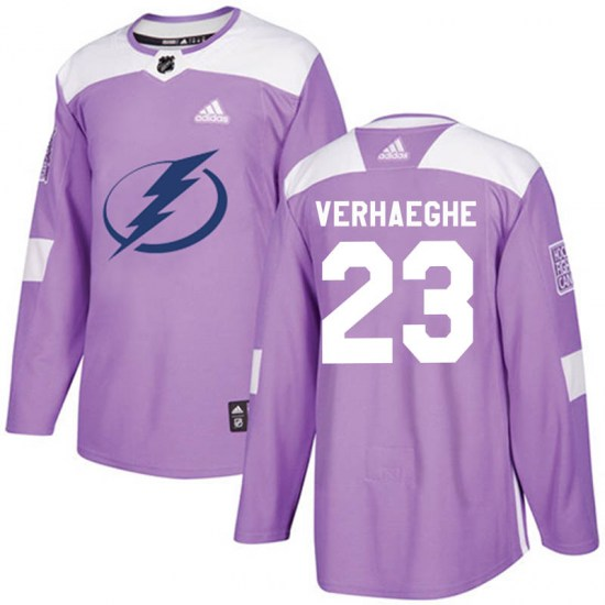 Carter Verhaeghe Tampa Bay Lightning Youth Authentic Fights Cancer Practice Adidas Jersey - Purple