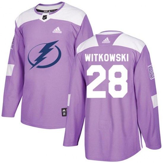 Luke Witkowski Tampa Bay Lightning Youth Authentic Fights Cancer Practice Adidas Jersey - Purple