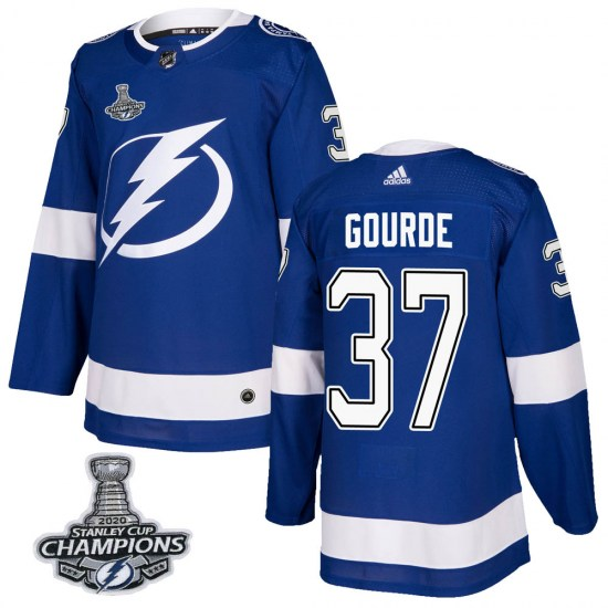 Yanni Gourde Tampa Bay Lightning Authentic Home 2020 Stanley Cup Champions Adidas Jersey - Blue