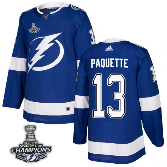 Cedric Paquette Tampa Bay Lightning Authentic Home 2020 Stanley Cup Champions Adidas Jersey - Blue