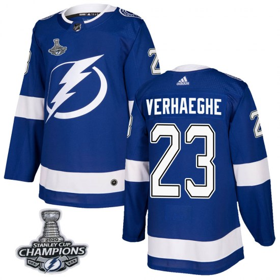 Carter Verhaeghe Tampa Bay Lightning Authentic Home 2020 Stanley Cup Champions Adidas Jersey - Blue