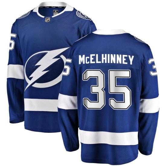 Curtis McElhinney Tampa Bay Lightning Youth Breakaway Home Fanatics Branded Jersey - Blue