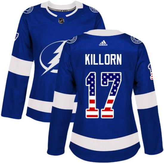Alex Killorn Tampa Bay Lightning Women's Authentic USA Flag Fashion Adidas Jersey - Blue