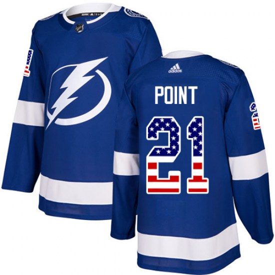 Brayden Point Tampa Bay Lightning Authentic USA Flag Fashion Adidas Jersey - Blue