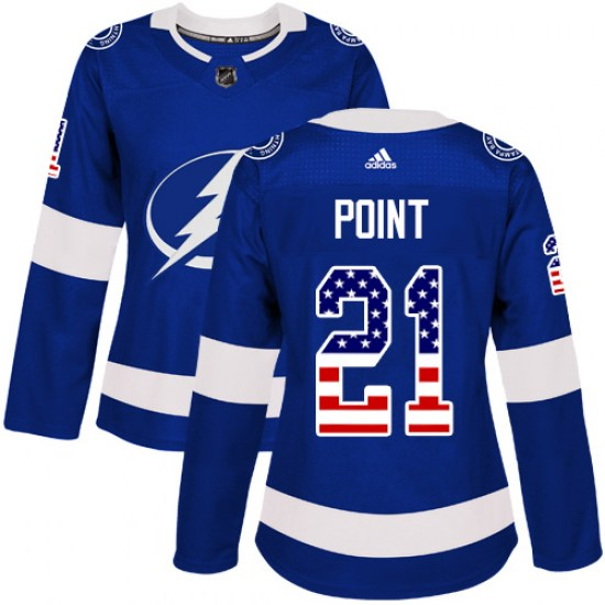 Brayden Point Tampa Bay Lightning Women's Authentic USA Flag Fashion Adidas Jersey - Blue