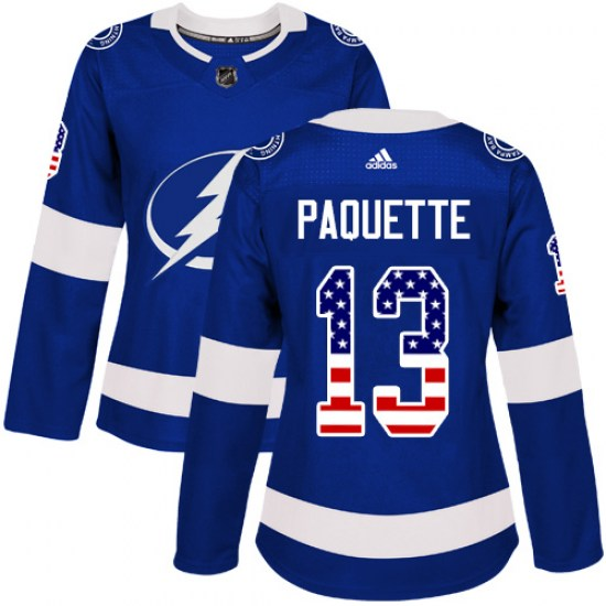 Cedric Paquette Tampa Bay Lightning Women's Authentic USA Flag Fashion Adidas Jersey - Blue