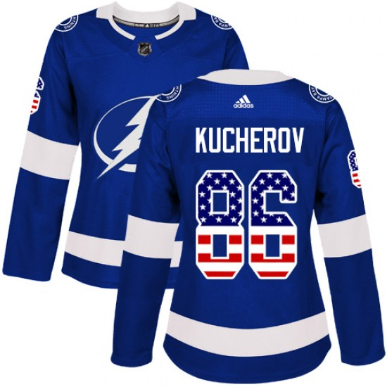 Nikita Kucherov Tampa Bay Lightning Women's Authentic USA Flag Fashion Adidas Jersey - Blue