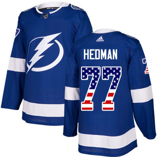 Victor Hedman Tampa Bay Lightning Authentic USA Flag Fashion Adidas Jersey - Blue