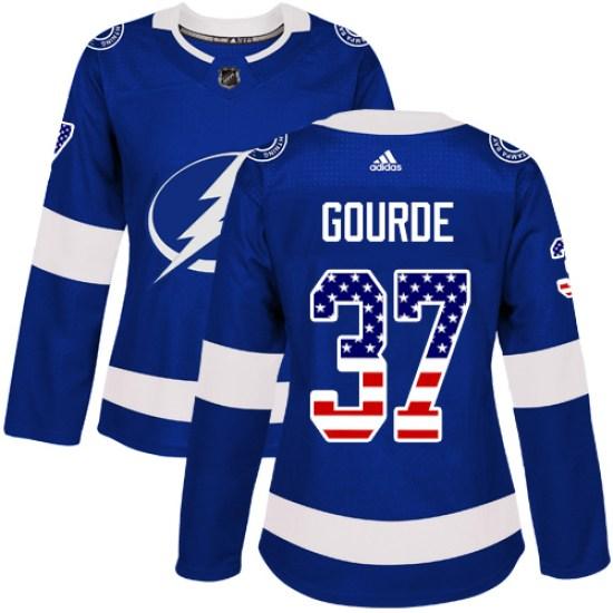 Yanni Gourde Tampa Bay Lightning Women's Authentic USA Flag Fashion Adidas Jersey - Blue